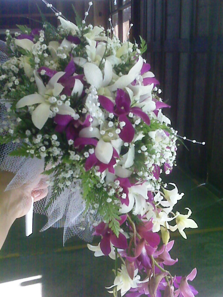 Hawaiian wedding flowers cascade style bridal bouquet izmirmasajfo