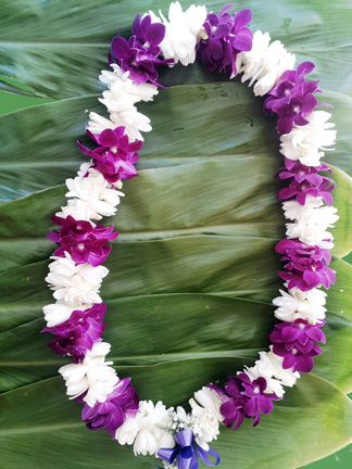 Double Purple Orchid And Tuberose Lei Aloha Hawaiian Flowers