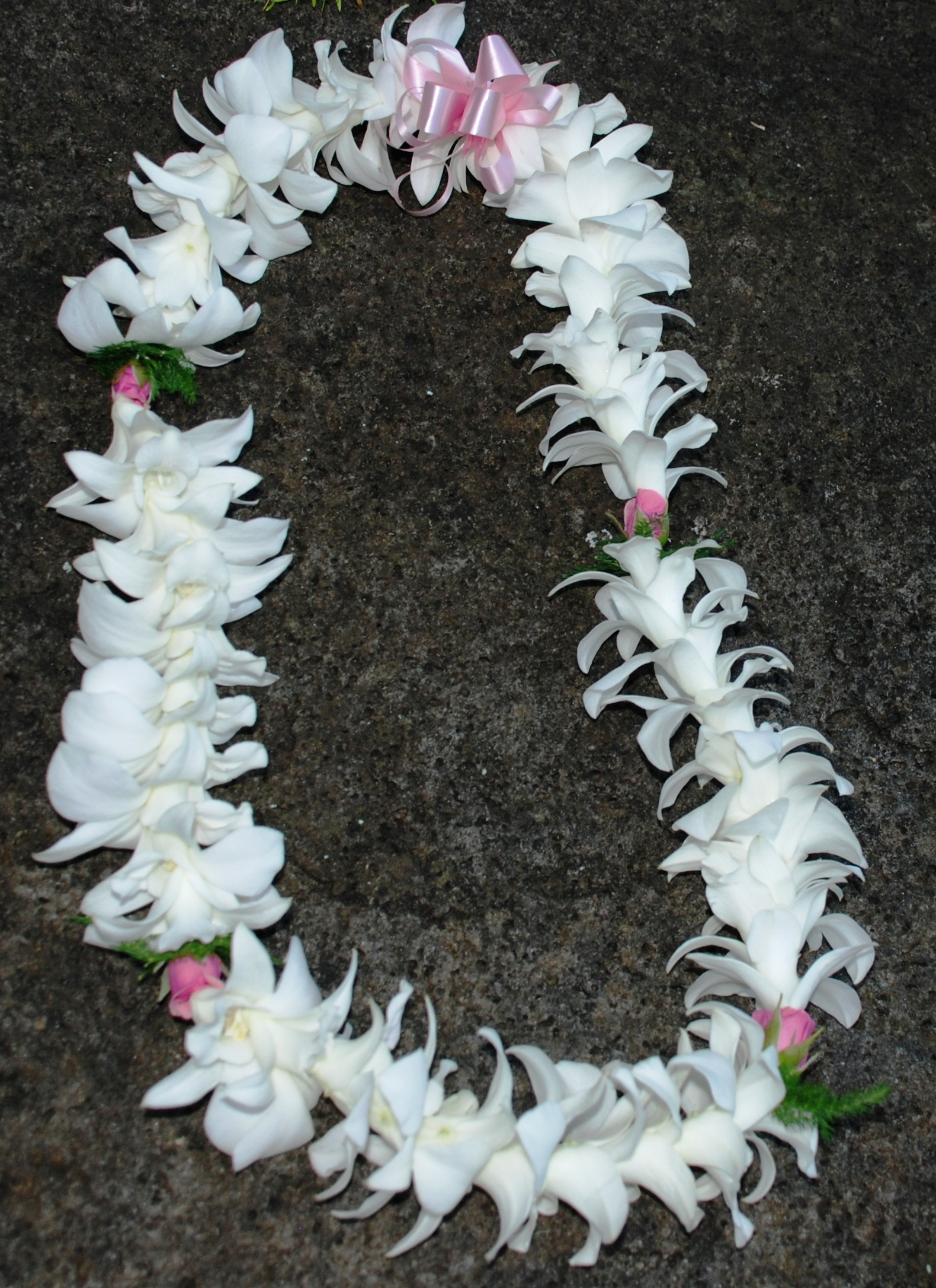 Hawaiian fresh flower leis white orchid with baby pink rose lei izmirmasajfo